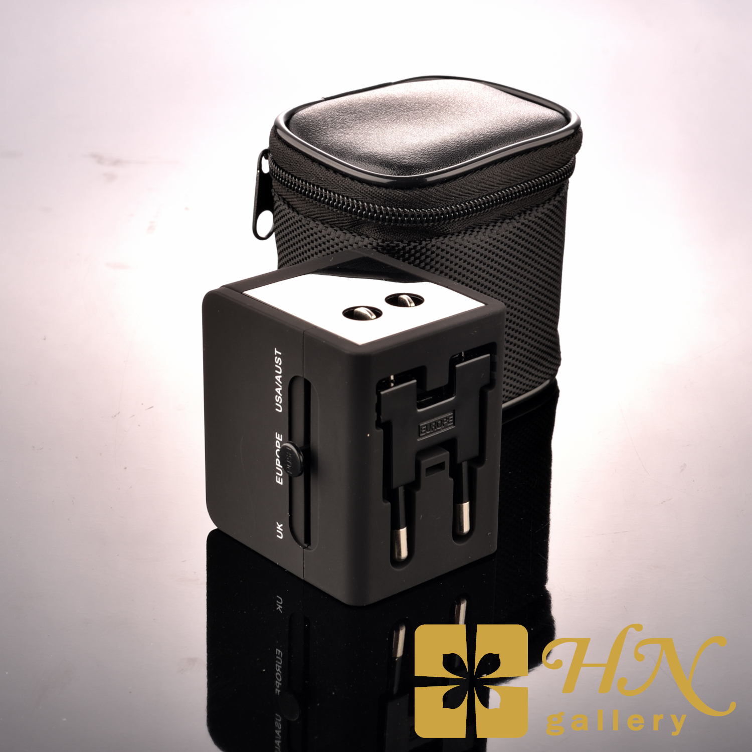 Universal Travel Adapter With 2 USB Port Charger Free Pouch